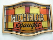Stained Glass Look Michelob Draught Plastic Beer Bar Wall Sign - 24 X 16