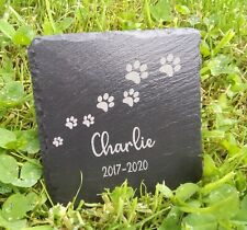 Pet Memorial Plaque Dog Cat Slate Stone Paw Grave Marker Personalised Gift