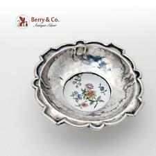 Antique Open Salt Dish Or Small Serving Bowl Sterling Silver Porcelain 1820