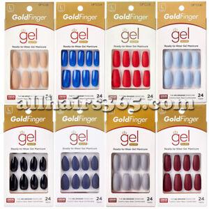 Kiss Gold Finger Gel Nail Matte Manicure Press-on Color Long Coffin Stiletto 1PC