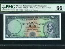 Portuguese Macau:P-56a,50 Patacas,1976 * Luis De Camoes * PMG Gem UNC 66 EPQ *
