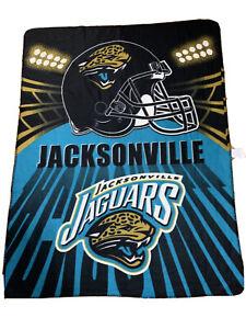NFL Jacksonville Jaguars Blanket Teal Football Logo Black Rectangle Throw 68X48