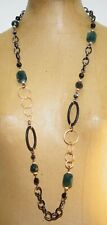 Lia Sophia Faceted Green & Black Glass Bead Long Chain Link Statement Necklace