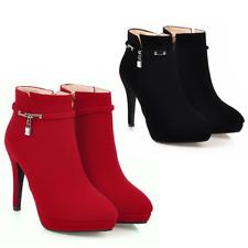 Botas Botines Zapatos de Mujer Tacón Alto De Moda Altos Rojos Elegantes Negros