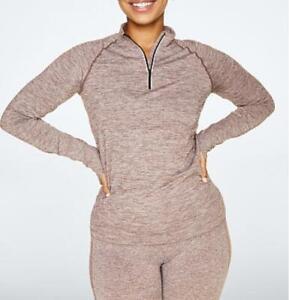 Victoria Secret PINK Seamless Workout Quarter Zip Womens Large Slim Peppercorn