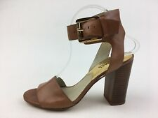 Women's Michael Kors ankle strap Bloch  Heel Sandals Size 8 M,Tan 2285