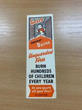 """VINTAGE """"GUARD AGAINST BURNS"""" CENTRAL COUNCIL FOR HEALTH EDUCATION BOOKMARK"""