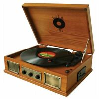 3-SPEED 33/45/78 RPM RETRO VINYL RECORD TURNTABLE AM/FM RADIO USB/SD PLAYER AUX