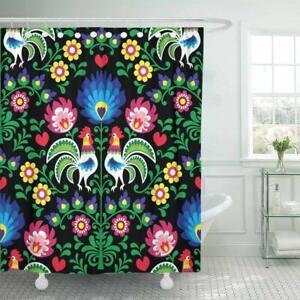 Bohemian Polish Folk Green Flower Shower Curtains Art Bathroom Curtain Art Decor