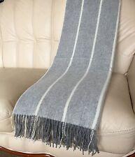 Kaschmirplaid grau gestreift, Kaschmirdecke, Sofaüberwurf, 140x200 cm