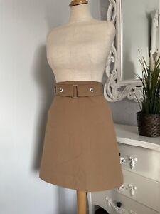 KAREN MILLEN Caramel Brown Belt A Line Autumn Skirt UK 12