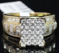 10K Yellow Gold Big Top Round Cut Genuine Diamond Cinderella Engagement Ring .90