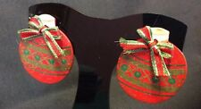 CHRISTMAS POST PIERCED EARRINGS WOOD PAINTED ORNAMENT BOW RED GREEN UNIQUE LIGHT
