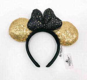 2021 Disney Park Gold Minnie Mouse Ears New Sequins Star Dot Bow Mickey