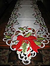 """Peppermint Stick & Holly Christmas Decor Table Runner Shimmery Embroidered 68"""" L"""