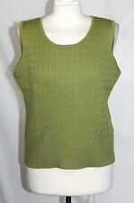 Liz Claiborne - L - Solid Green 100% Cotton Cable Knit Sleeveless Sweater - Vest