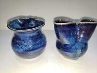 Set of 2 Hand Thrown Pottery Bud Pinch Vases Shades of Blue Drip Glaze Unsigned