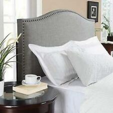 Gray Headboard Full Queen Size Linen Fabric Nailhead Upholster Bedroom Furniture