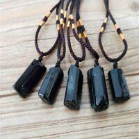 Raw Natural Black Tourmaline Schorl Pendant Chunk Reiki Chakra Necklace Crystal