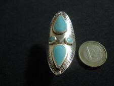 anello vero argento 925 spoletta regolabile turchese gioiello sterling donna