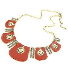 Red Epoxy Geometric Diamante, Rhinestone Antique Gold Tone Statement Necklace