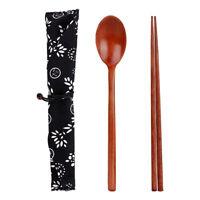 Vintage Chinese Korean Wooden Chopsticks Spoon Cutlery Tableware & Storage Bag