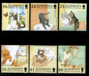 ALDERNEY Domestic Cats MNH set