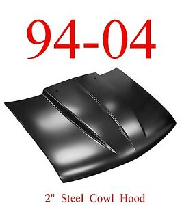 "94 04 S10 Cowl Hood 2"" Chevy GMC Truck, Steel Bolt On W/ Latch, KeyPart 0872-036"