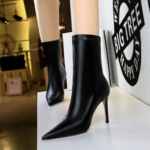 Sexy Women Pull Up Pointed Toe Leather Stiletto Heels Mid Calf Boots Dress Shoes