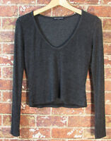 Brandy Melville OS Onesize Grey Cropped V-Neck Slub Knit Top Long Sleeve