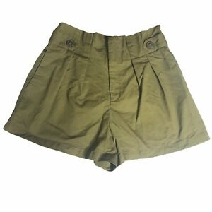 Forever 21 Shorts Juniors Medium Paperbag Olive Green Pockets Pleated Front