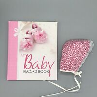 GIft Set Baby Girl Record Book Journal Photo Album Birth To 7 Years Baby Bonnet