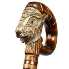 Ibex Handle Cane Carved Head Support Wooden Walking Handmade Canes Hand Stick