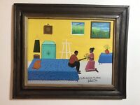 Oil On Masonite By Haitian Artist Voltaire Hector Titled A Request For Love