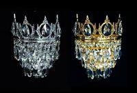 Königliche Kristall Wandlampen Kronleuchter. Verfügbar in Antik Gold o. Silberf.