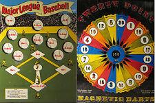 ANTIQUE MLB BASEBALL ROULETTE WHEEL DART TIN TOY GAME BOARD DOUBLE SIDED NY NY