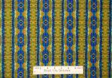 Amazon Cultural Geometric Blue Olive Stripe Southwest Diamond Cotton Fabric Yard