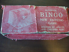 vintage old automatic bingo set in original box tin numbers spinner cards chips