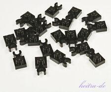 LEGO - 20 x Platte 1x1 mit O - Clip waagerecht schwarz / 4085d NEUWARE
