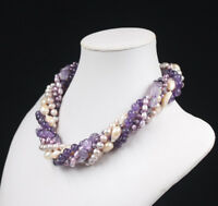 Wonderful! Multi Shape Pearl Amethyst Choker Necklace