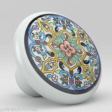 Round Talavera Design Ceramic Knobs Pulls Kitchen Drawer Cabinet Dresser 1200
