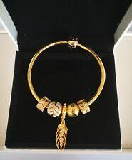 GENUINE PANDORA 18K GOLD SNAKE CHAIN BRACELET+ CHARMS 568748COO/S925 ALE-19CM