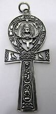 HUGE Ankh Egyptian Egypt Sterling Silver .925 Pendant scarab beetle Jewelry