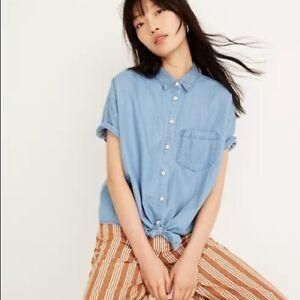 Madewell Denim Short-Sleeve Tie Front Shirt Size Medium Blue
