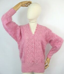 Vintage pink hand knit fluffy mohair button down jumper sweater faux cardigan 16