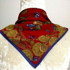 CelineScarf Handkerchief Women Red Gold Chain Flower Vintage Thin Cotton18""