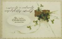 """ New Year, Cloverleaf "" 1915, Army Postal Service, Embossed Postcard"