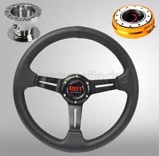 Black Steering Wheel Kit w/Quick Release GD For Toyota Celica Corolla Cressida