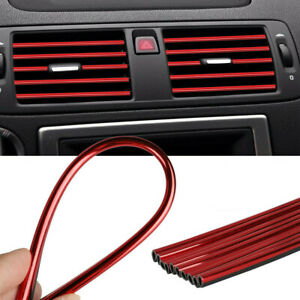 10pcs Auto Car Accessories Red Air Conditioner Outlet Decoration Strip Universal