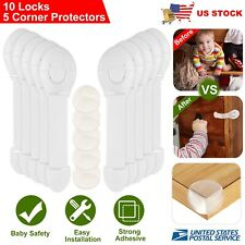 10Pcs Cabinet Locks+5Pcs Corner Protectors For Child Safety Cupboard Door Drawer
